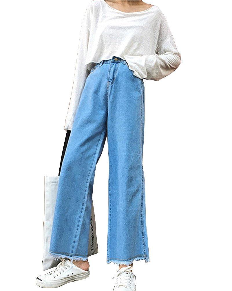 ShiFan Donne Vita Alta Jeans Pantaloni Larghi Denim Baggy Casual Jeans
