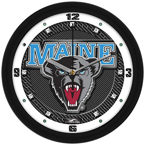 Bears Ncaa Wall Clock - SunTime NCAA Maine Black Bears Textured Carbon Fiber Wall Clock