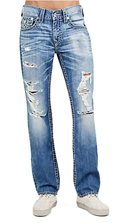 0e34304d3 True Religion Men s Big T Yellow Stitched Straight Distressed Ripped Jeans  w Flaps (27