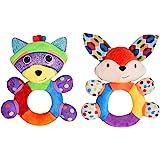 HAHA Baby Teething Rattle Toys, Infant Girl Boy Learning Toy Newborn Soft Handbell Grab Shaker Crinkle Squeaky Sensory Travel