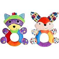 HAHA Baby Teething Rattle Toys, Infant Girl Boy Learning Toy Newborn Soft Handbell Grab Shaker Crinkle Squeaky Sensory…