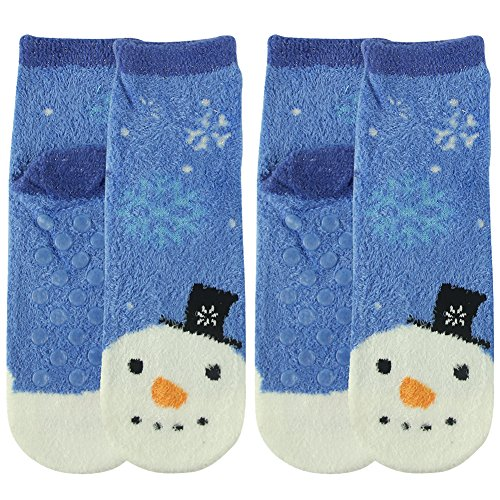 Fun Sock Yarn (Vive Bears Women's Ultimate Feather Yarn Warm Smooth Comfy Fun Snowman Fashionable Patterned Non-skid Assorted Casual Socks,2 Pairs)