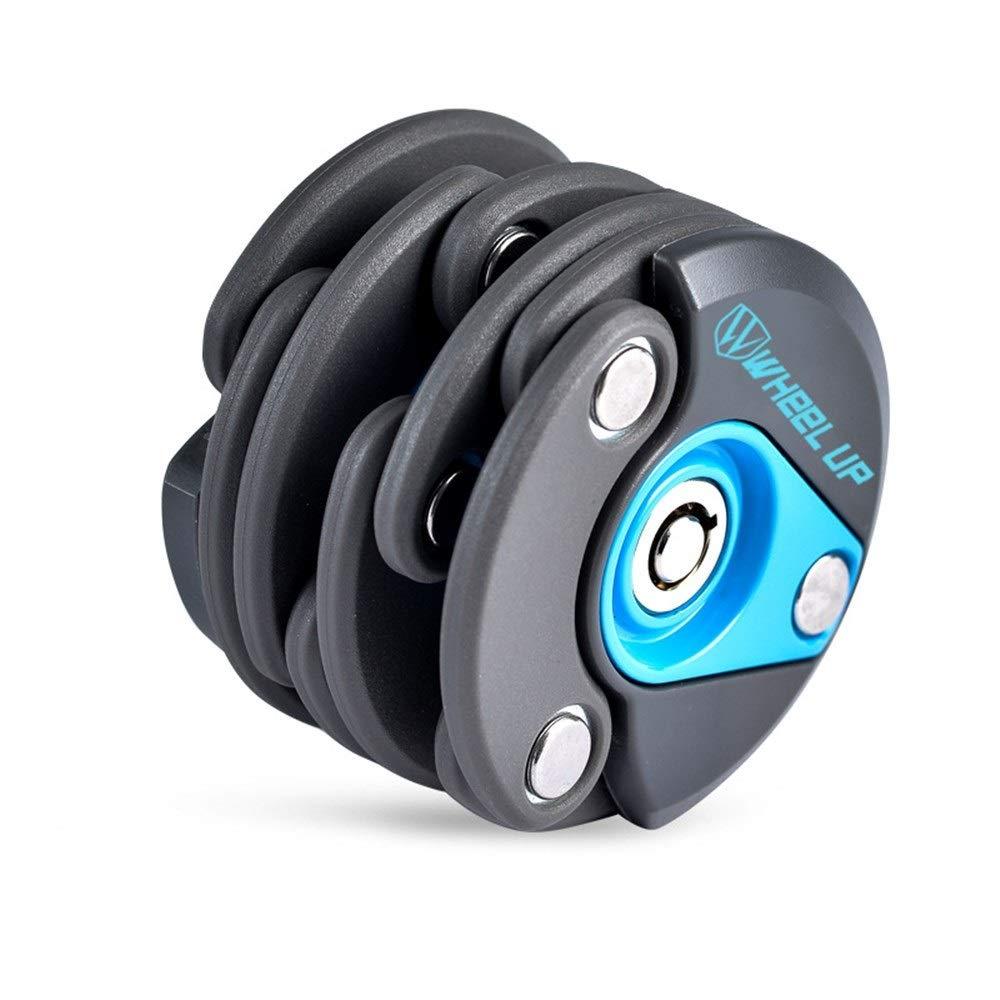 8haowenju Bike Bicycle Folding Lock, High Security Level Lock (Color : Black Blue)