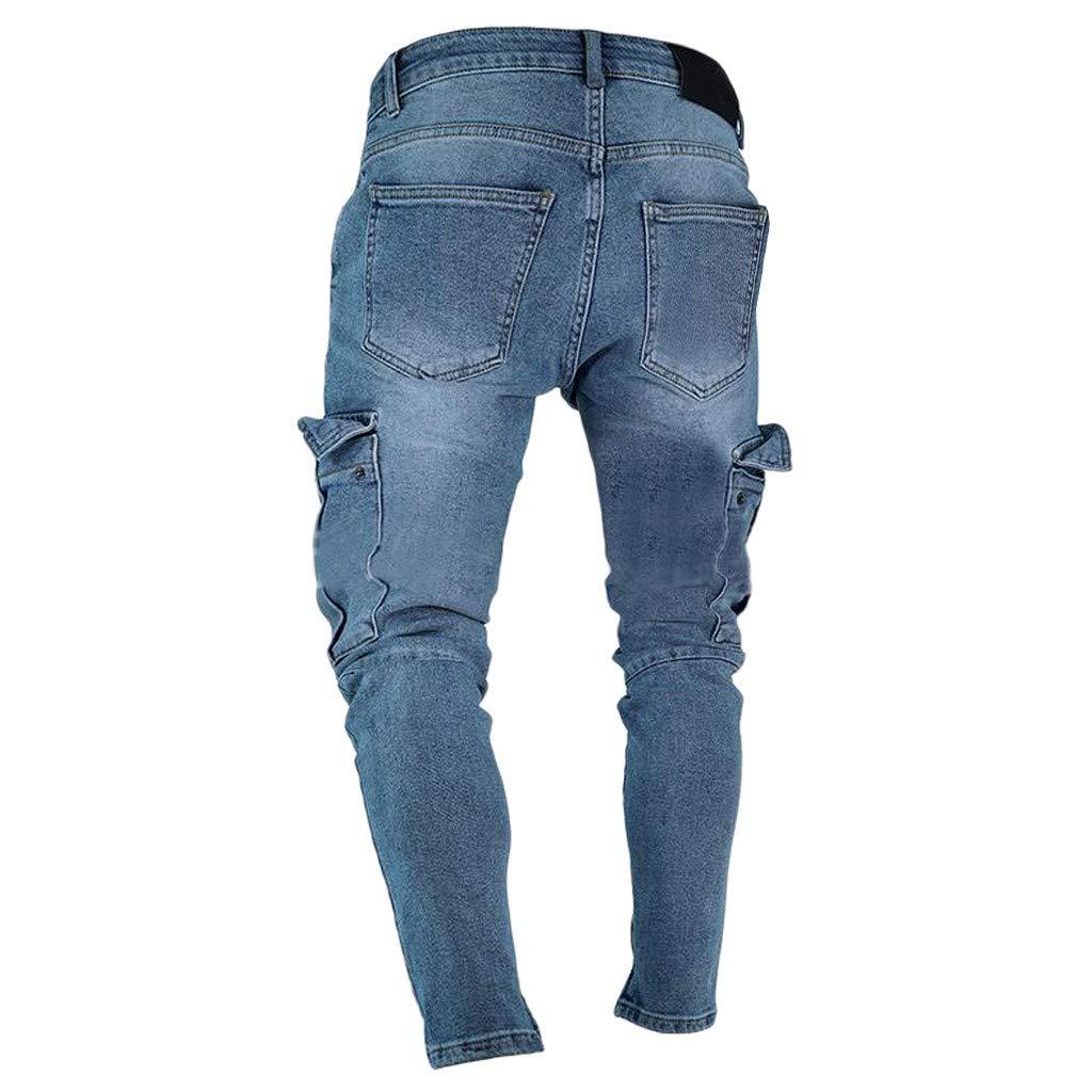 Hombres Pantalones Vaqueros Rotos Pitillo Originales Slim ...