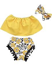 Luckycat Conjunto Rope para Bebe niña Verano Hombro Camisa para Niñas sin Tirantes Blusa Moda Tops
