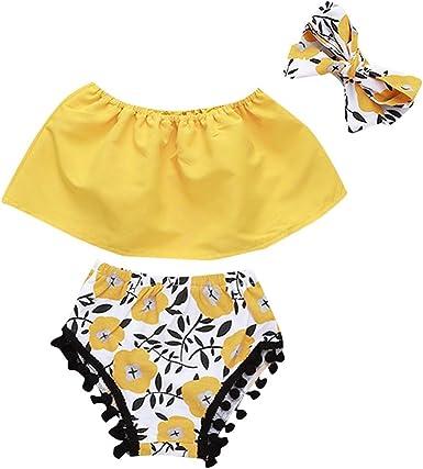 Luckycat Conjunto Rope para Bebe niña Verano Hombro Camisa para Niñas sin Tirantes Blusa Moda Tops para Chica Pantalones Cortos+Blusa +Venda: Amazon.es: Ropa y accesorios