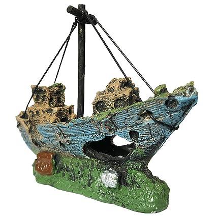 SLOME Adorno de Barco de Resina para Acuario, decoración de pecera, Barco hundido,