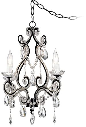 Leila black clear swag plug in chandelier amazon leila black clear swag plug in chandelier aloadofball