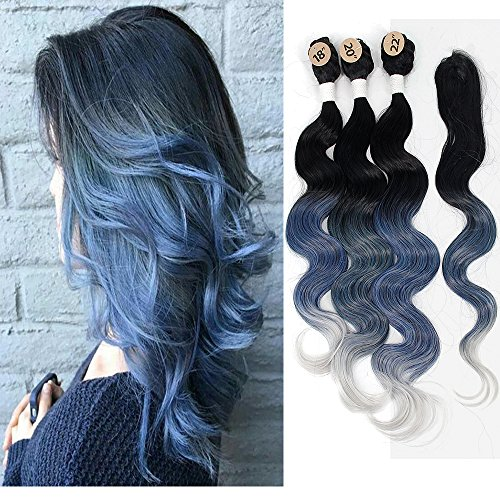 18 20 22 Synthetic Body Wave with Closure Ombre Bundles Hair Weaves Ombre Blue Kanekalon Braiding Hair Extensions Heat Resistant Fiber Hair