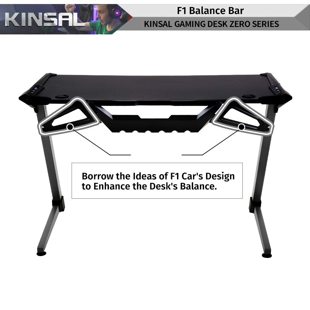 Kinsal Z-Shaped Gaming Desk Computer Desk Table with Fighting RGB LED Ambience Lighting and Large Size Mousepad, Racing Table E-Sports Durable Ergonomic Comfortable PC Desk (RGB Lights) by Kinsal (Image #3)
