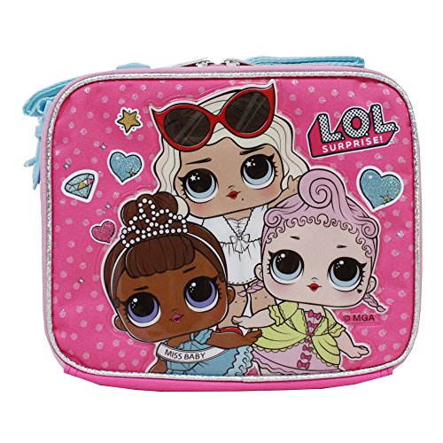 L.O.L Surpise! Girls Pink Insulated Glitter Lunch Box- Royal High-Ney, Leading Baby, Miss Baby -