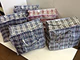 Set of 5 Large Laundry Bags with Zipper and Handles! Colors Vary Between Black, Blue, Red and White Checkers Convenient Size 19