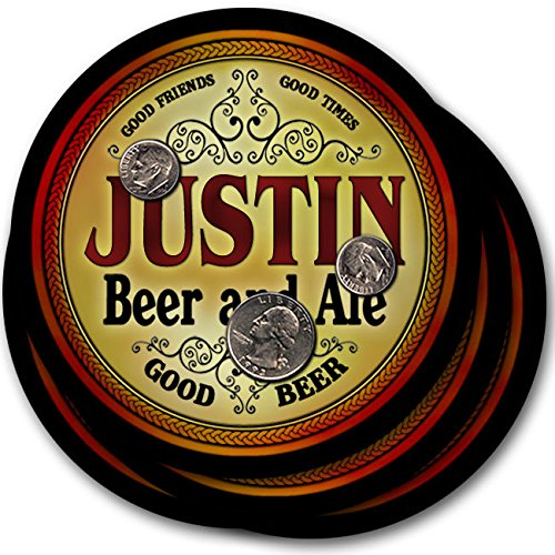 Justin Beer & Ale - 4 pack Drink Coasters (Justin Lager)