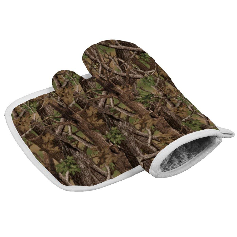 July-Seven Camo Oven Mitts,Professional Heat Resistant Microwave BBQ Oven Insulation Thickening Cotton Gloves Baking Pot Mitts with Soft Inner Lining