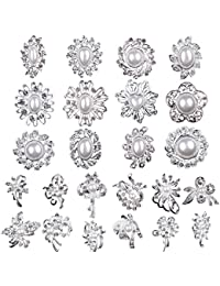 Lot 24pc Clear Rhinestone Crystal Flower Brooches Pins