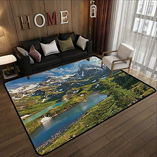 Throw Rugs,Cottage Decor Collection,Siberia Altai Mountains Katun Ridge High Snowy Peaks with Skirts Grass Covered View,Green Blue 59