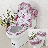 Toilet cushion,Luxury toilet seat cover 2 Pack set (Lid cover & Tank cover) Bathroom super warm soft comfy -Bseat Cover machine washed Thicken