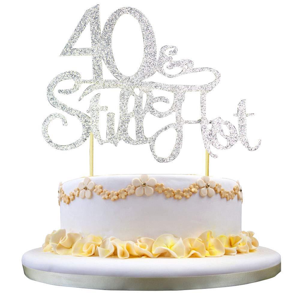 Amazon GrantParty Glitter Silver 40Still Hot Cake Topper