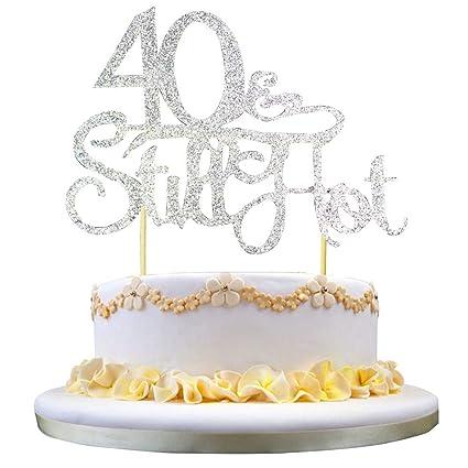 GrantParty Glitter Silver 40Still Hot Cake Topper