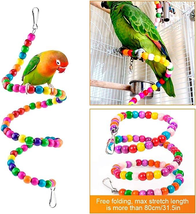 Welltop Juguetes para Pájaros, 6 Piezas Perchas Pájaros Juguetes con Campanas, Escalera de Madera, Columpios, Hamaca de Madera, Que cuelga la Perca Juguete para pequeños y medianos Loros de Aves: Amazon.es: Productos