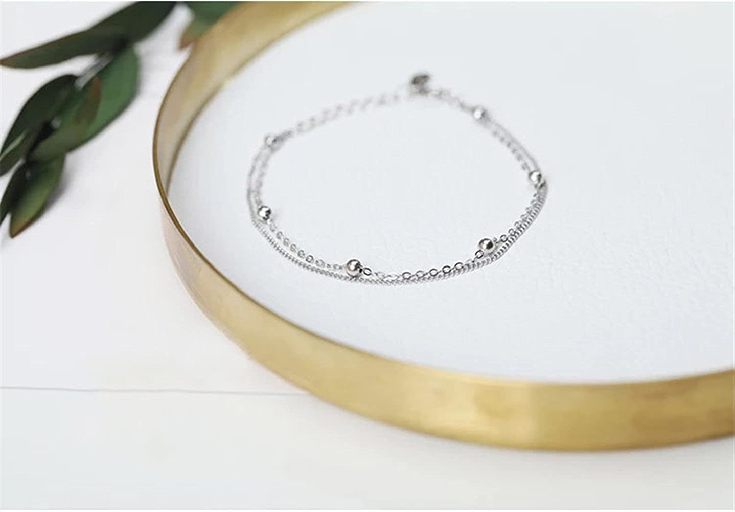 7241b6829b3 Amazon.com: DIDa Sterling Silver Bracelet for Women Simple Adjustable  Layered Chain Bracelet: Jewelry