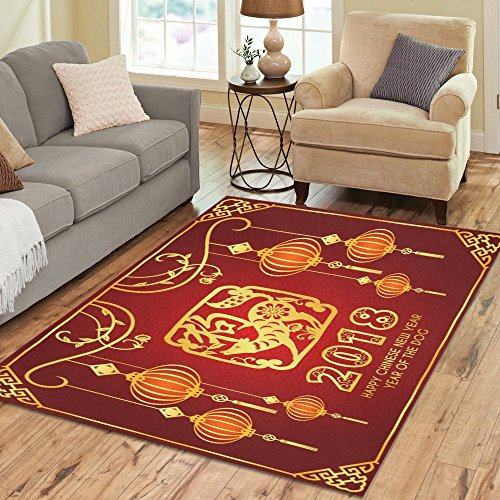 InterestPrint Happy Chinese New Year 2018 Rug Carpet 7 x 5 Feet, Cute Dog in Frame Modern Area Rug Floor Mats for Children Kids Playroom Bedroom - Happy New Frame Year