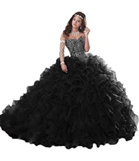 9069d4b8da APXPF Women s Heavy Beaded Organza Ruffle Quinceanera Dresses for Sweet 16  Prom Ball Gowns