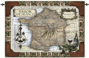 Diseño Toscano francés Vino país Tapiz W/Rod Nr