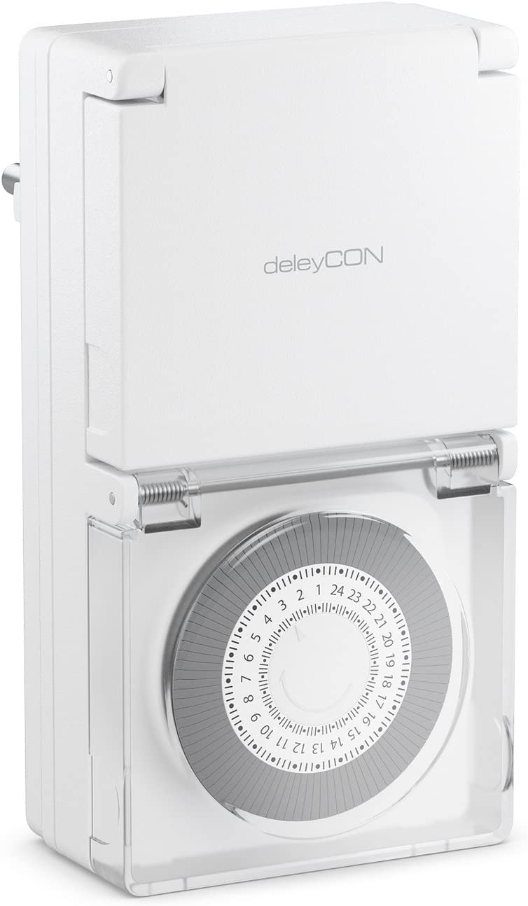 deleyCON Temporizador Mec/ánico Outdoor Ajustable Manualmente a Trav/és de la Plataforma Giratoria para Interior//Exterior 3500W Blanco