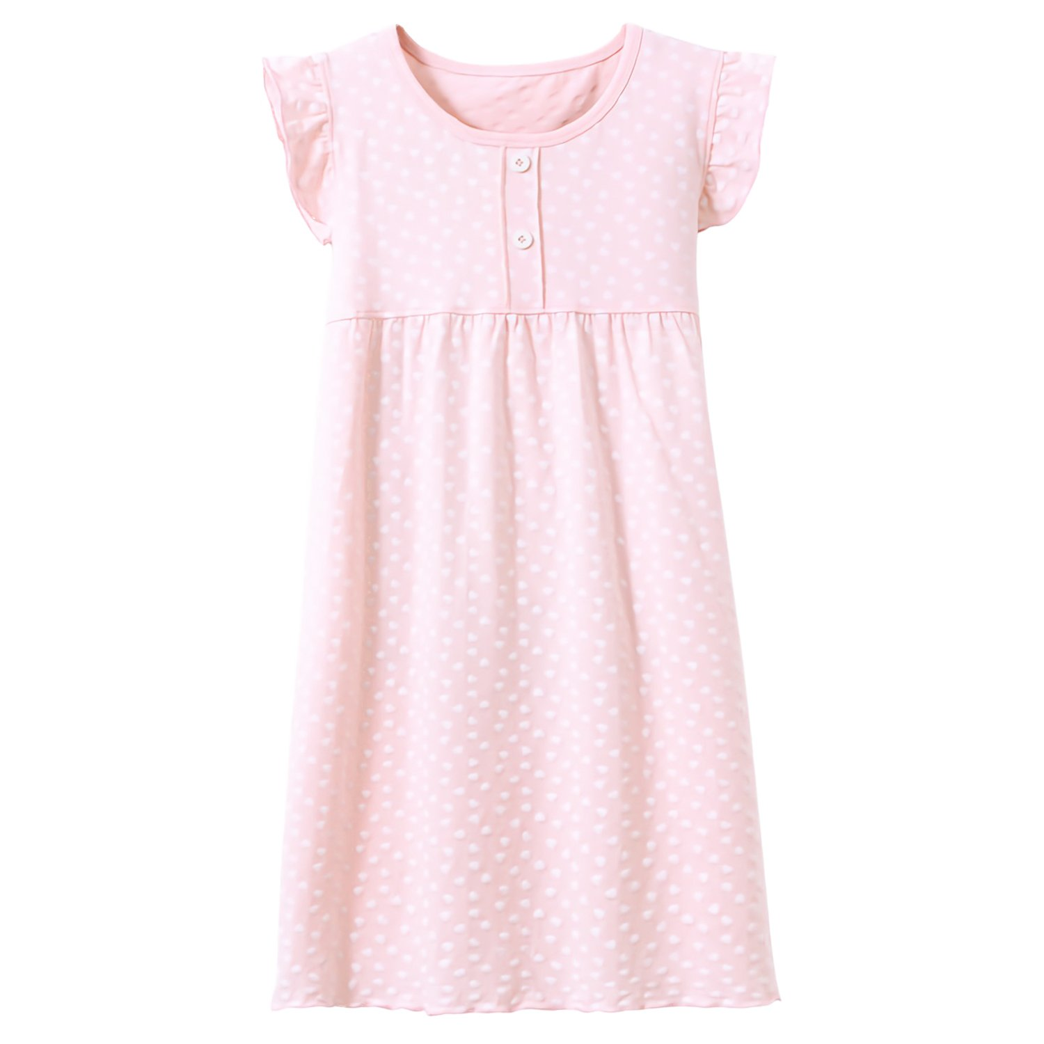 Little Girls' Princess Nightgowns Heart Printing Sleep Shirts Jersey Nightdress Pink 5t