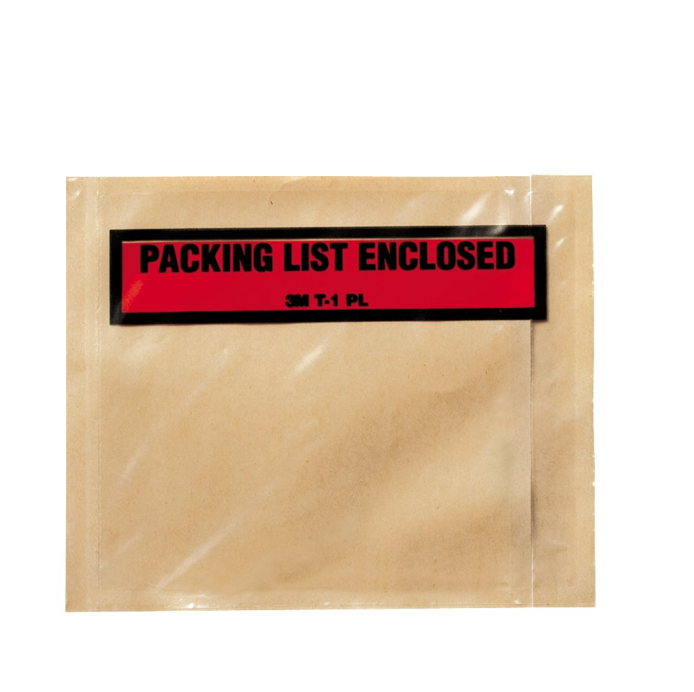 3M Top Print Packing List Envelope PLE-T1 PL, 4-1/2 in x 5-1/2 in (Case of 1000) by 3M