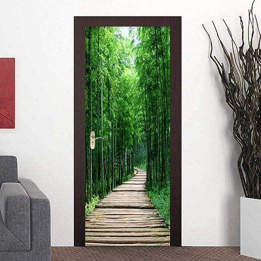 Self-Adhesive 3D Green Forest Path Door Murals Wall Stickers Bedroom Wallpaper