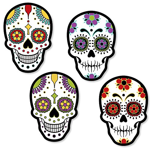 Day of The Dead - DIY Shaped Halloween Sugar Skull Party Cut-Outs - 24 Count