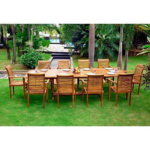 Gartenmöbelgarnitur aus Teakholz, 10Stühle aus massivem Teakholz