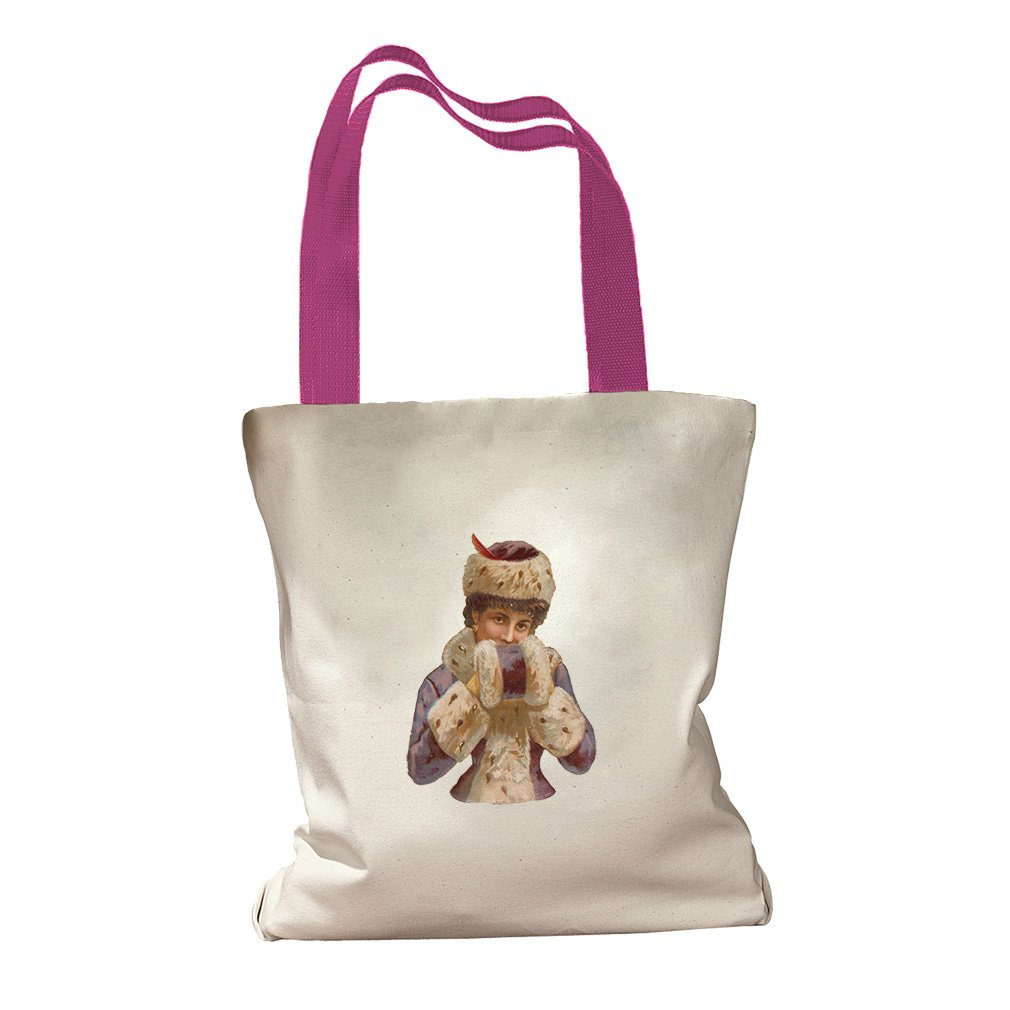 Lady In Winter Coat Vintage Look Canvas Colored Handles Tote Bag - Hot Pink
