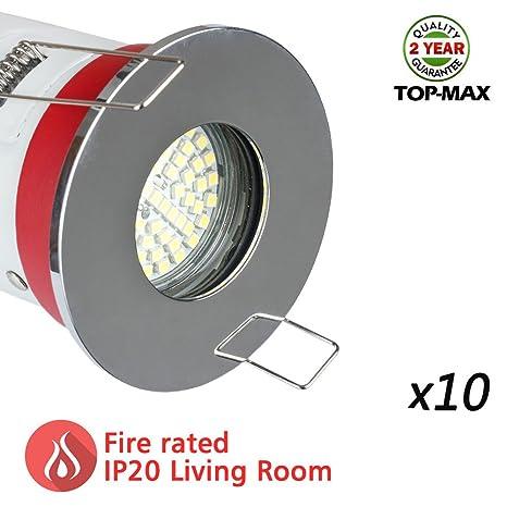 10 x TOP-MAX – Foco LED (IP20, resistentes al fuego Downlight GU10