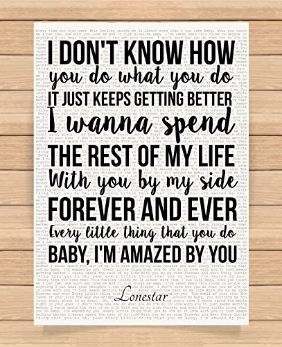 Presents Gifts For Him Her Husband Wife Girlfriend Boyfriend Valentines Day Wedding Anniversary Christmas Xmas Lonestar I'M Amazed By You Prints Posters Wall Art 1St First Dance Home Decorations