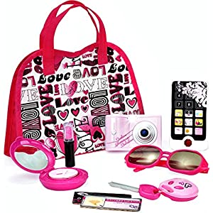 FUNERICA Toy Purse for Toddlers - Includes Camera with lights and Sounds - Toy Cell Phone - Toy Car Key - Pretend Play Makeup & Lipstick - Toy Sunglasses and more - My First purse for little girls