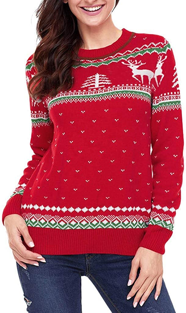 YiYLunneo Womens Winter Christmas Reindeer Snowflakes O-Neck Print Long Sleeve Sweater Pullover