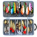 29pcs Assorted Fishing Lures Spoon Metal Spinner Baits Bass Tackle Hook
