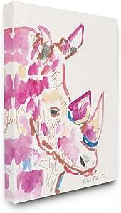 Stupell Industries Rhino Illustration Safari Animal Pink Blue Wall Art, 36 x 48, Multi-Color
