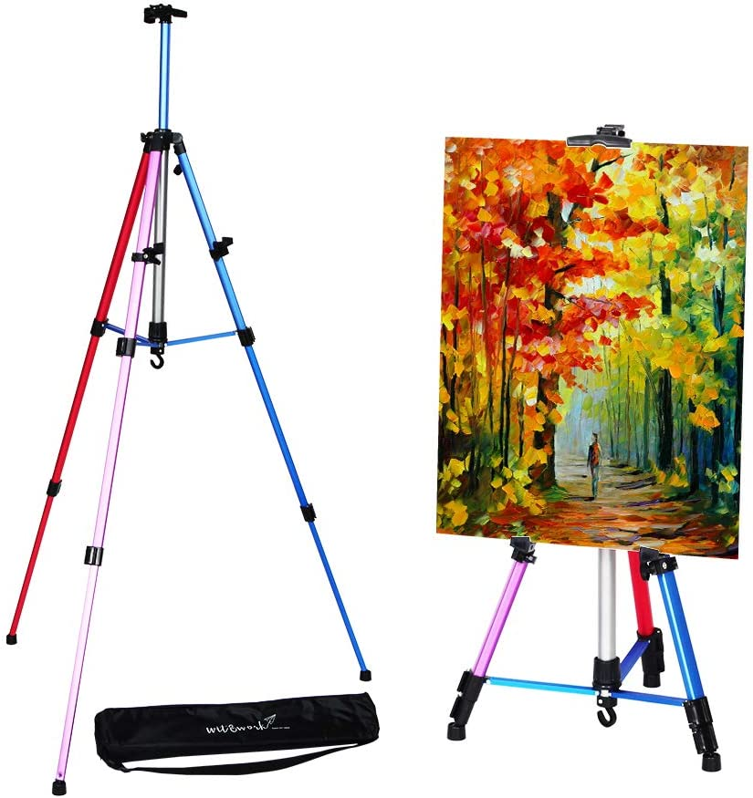 Artist Easel Stand Adjustable Aluminum Metal Tripod Display Easel 20 to 61 inch with Portable Bag for Floor Desktop Beach Painting, Mixed Color