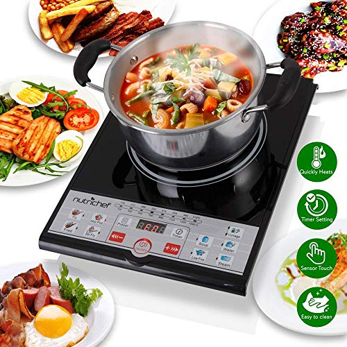 (NutriChef Portable 120V Electric Induction Cooker Cooktop - Professional Digital Ceramic Countertop Burner w/ Built in Fan - Works with Stainless Steel, Cast Iron & Other Magnetic Cookware - PKSTIND26)
