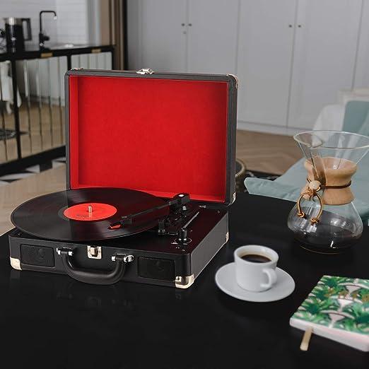 DIGITNOW! Tocadiscos 33/45/78 RPM Seleccionables, Maleta Portátil ...