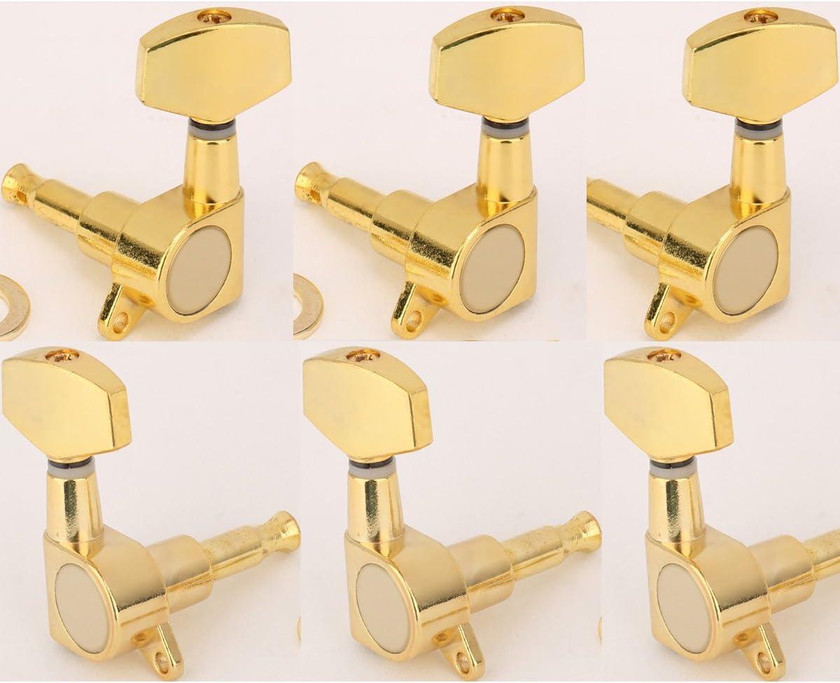 Musiclily 3 +3 Tipo Cerrado Set de Clavijas de Afinación Clavijero de Repuesto para Guitarra, Botón Grande de Oro