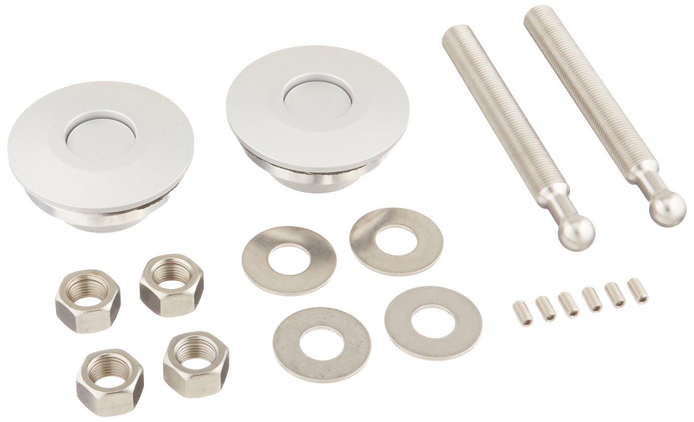 Quik-Latch Products QL-50-LP//P Polished Aluminum Low Profile Quick Release Hood Pin Kit