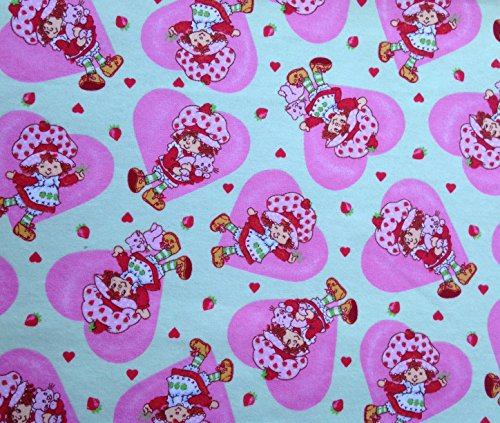 Flannel Fabric Hearts - 1 Yard - Strawberry Shortcake in Hearts on light green Flannel Fabric (Great for Quilting, Sewing, Craft Projects, Throw Pillows & More) 1 Yard X 44