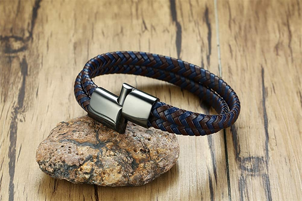 MEALGUET Personalized Engrave Unisex His and Hers Couples Double Strand Mens Braided Leather Bracelet with Engravable Magnetic Clasp
