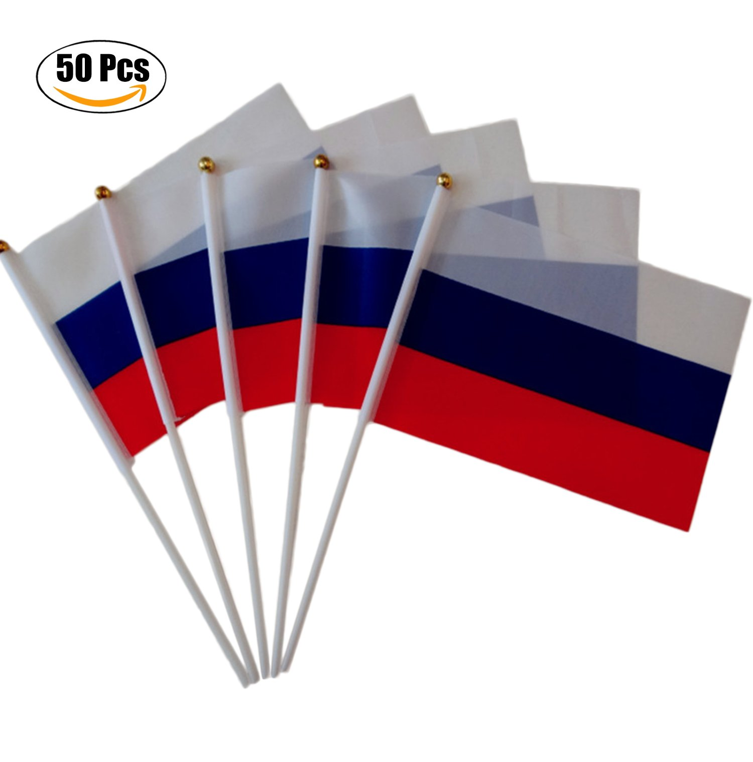 Funpa 50PCS Stick Flag Mini Flag Plastic Poles National Flag Handheld Flag for Party or Events