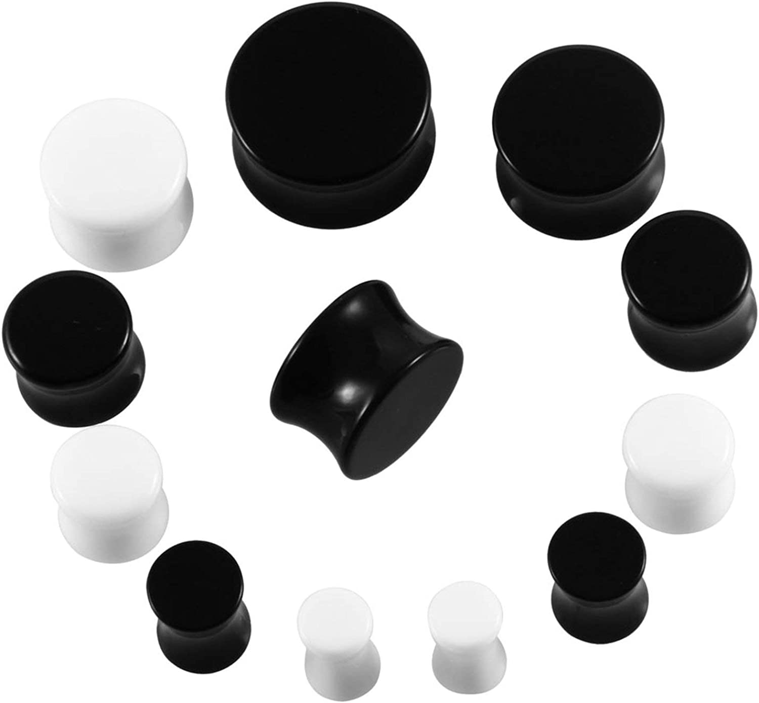 Pair White/&Black Acrylic Ear Tunnel Plug Simple Styles Ear Gauges Piercing Double Curved Saddle Expander Stretcher Body Jewelry,18mm,White